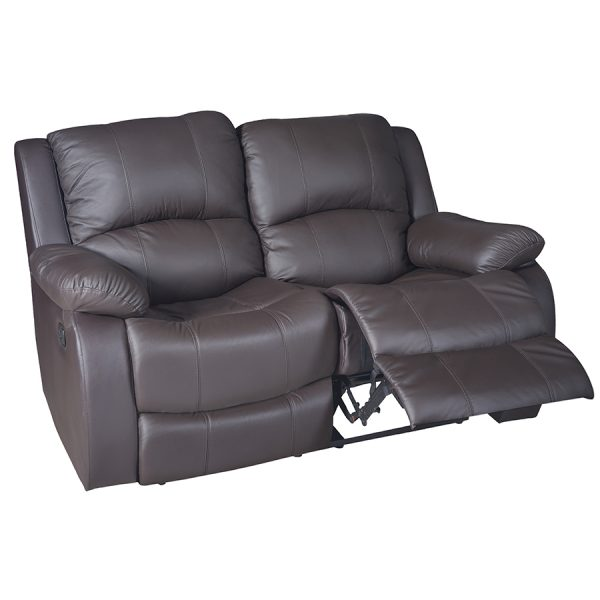 RECLINABLE DOBLE DE CUERO Y PVC COLOR CAFÉ