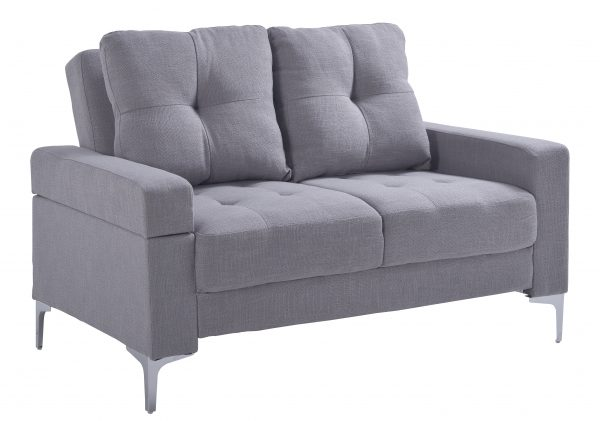 SOFA 2P CON RESPALDAR MOVIBLE COLOR GRIS CLARO