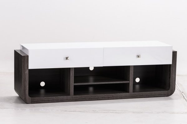 CENTRO DE TV DE MDF COLOR GRIS CON BLANCO GLOSS
