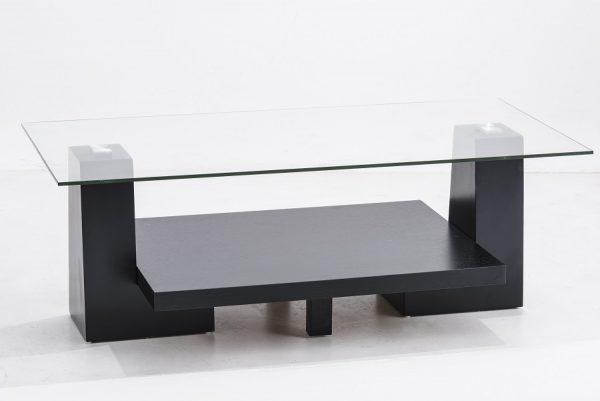 Mesa de centro wengue mdf con vidrio templado