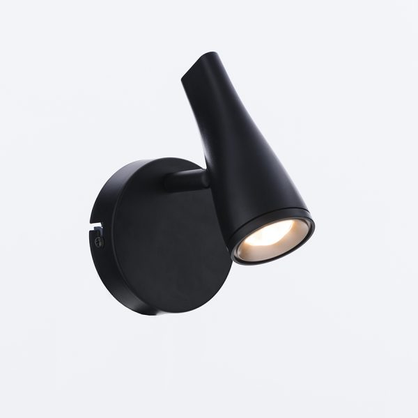 SPOT LED CÓNICO COLOR NEGRO SATINADO CON BASE DE HIERRO